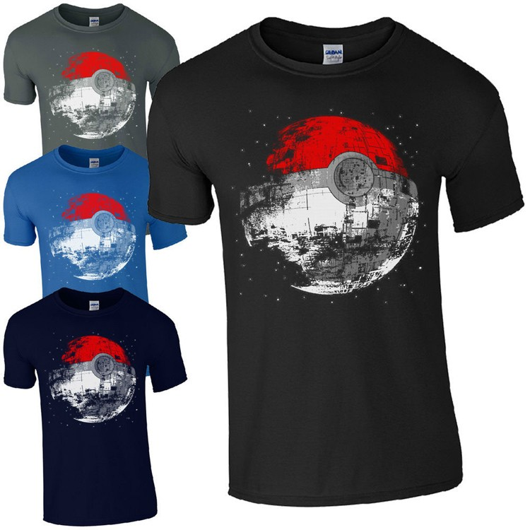 star wars death star pokeball t-shirt pokemon tshirt at various colors