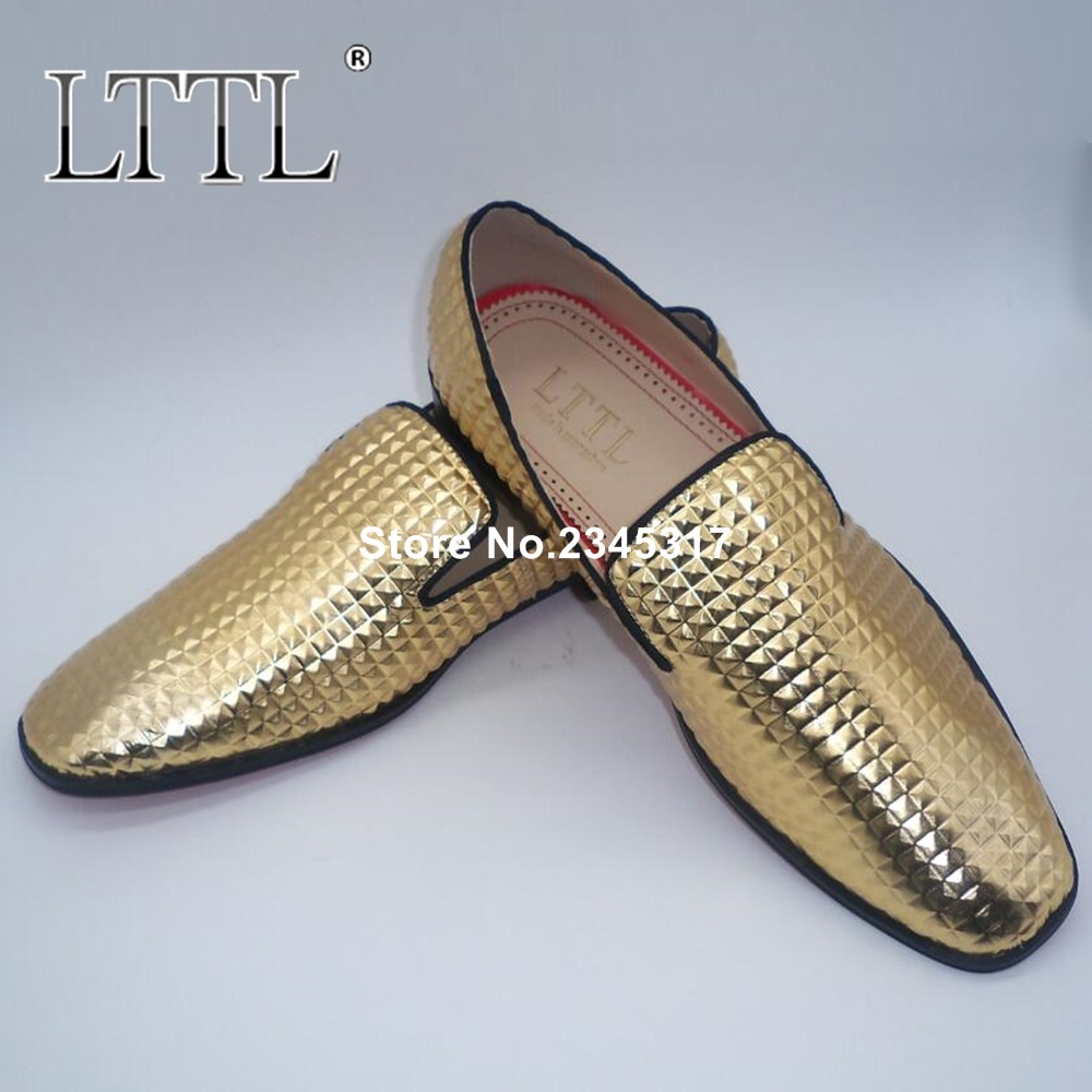 New Arrival Gold Wedding Shoes For Men Large Size Patent Leather Mens Loafers Square Toe Slip On Party And Banquet Shoe Flats men loafers paint and rivet design simple eye catching is your good choice in party time wedding and party shoes men flats