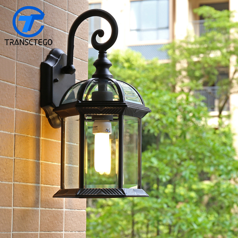 European Style Wall Lamp Garden aisle Courtyard Waterproof Outdoor Balcony Light aluminum Vintage American industrial creative ...
