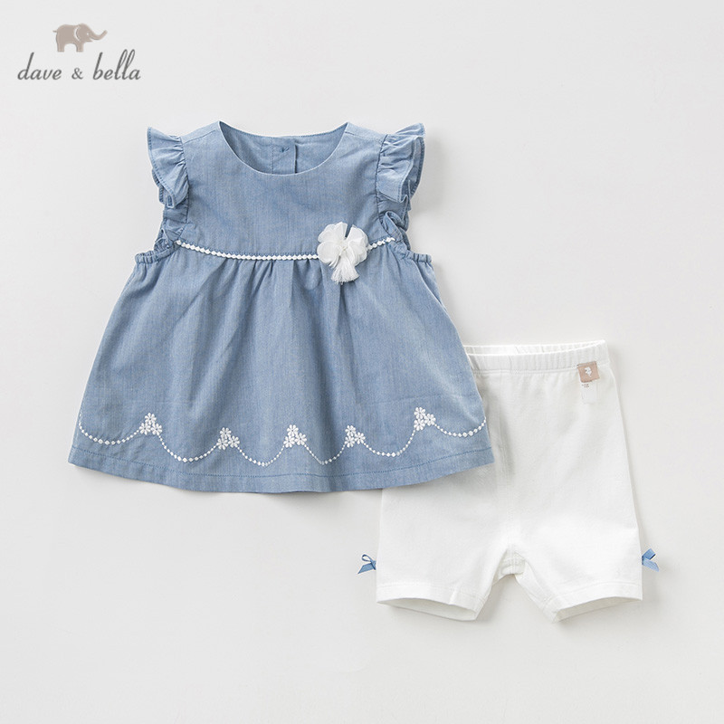 DBJ10544 Dave bella summer baby girl clothing sets children floral suits infant high quality clothes girls