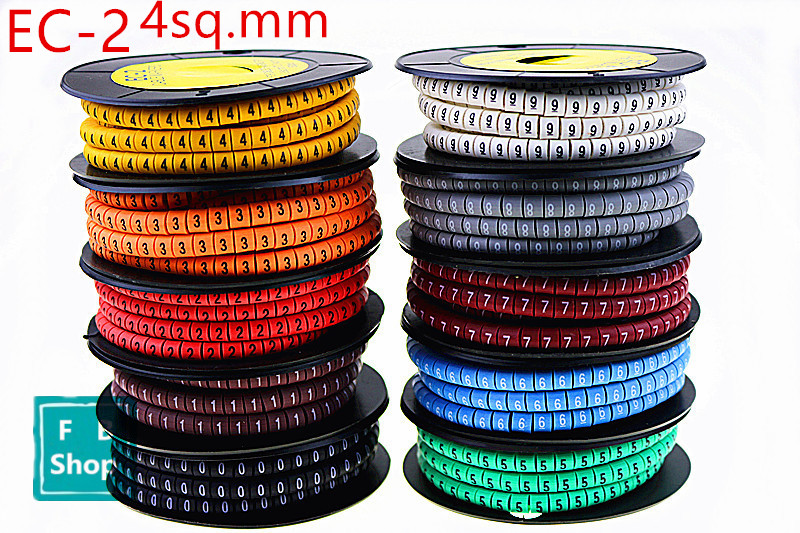 где купить 10rolls/lot EC-2 4sq.mm Coloured Cable Markers Letter 0 to 9 Cable Wire Markers по лучшей цене