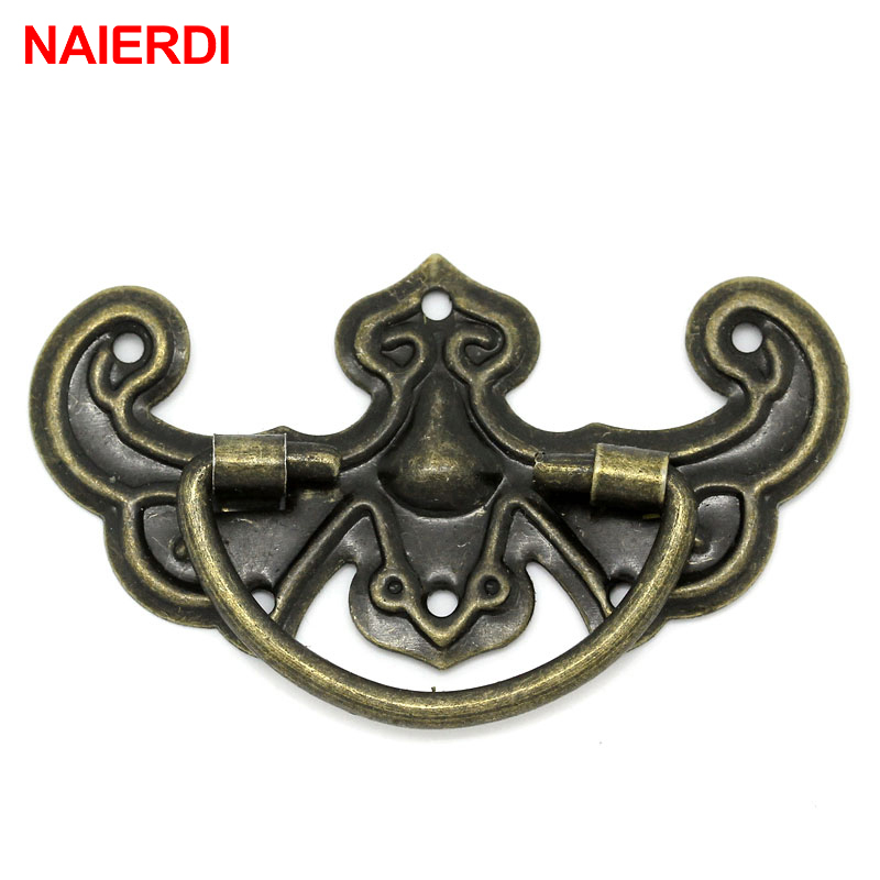 NAIERDI 20pcs Retro Bronze Tone Handles Drawer Cabinet Desk Door Jewelry Box Pulls Handle Wardrobe Knobs For Furniture Hardware zinc alloy eyebrows drawer handle vintage wooden box cabinet storage box handle accessories gift bronze tone color 2pcs 45 85mm