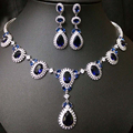 Hot ! Water Drop Bridal Jewelry Sets Crystal Jewelry Set Full CZ Diamond Flower Bridal Jewelry Set Luxurious Jewelry Sets