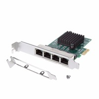 PCIe PCI Express 10/100/1000M to 4 Port 4x Gigabit Card Ethernet Network Adapter