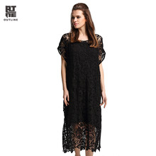 Outline Summer Women Black Dress Cotton Short Sleeve Crochet Hollow Out O-neck Elegant Solid Plus Size Long Party Dress L172Y038(China)