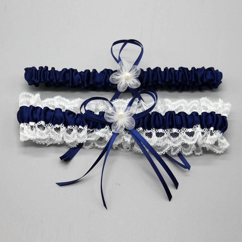 Wedding Garter, Bridal Garter, Lace Garter Set Floral Stretch Lace Bridal Garter  Lace & Pearls style