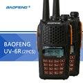2 pcs baofeng uv-6r walkie talkie uhf & vhf dual band uv 6r rádio cb versão atualizada uv-5r transceptor fm para a caça de rádio