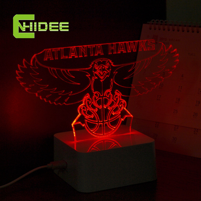 CNHidee NBA 3D Led Night Lights for Hawks Team Fans Atalanta Touch Desk Lamp as Holiday Creative Gifts