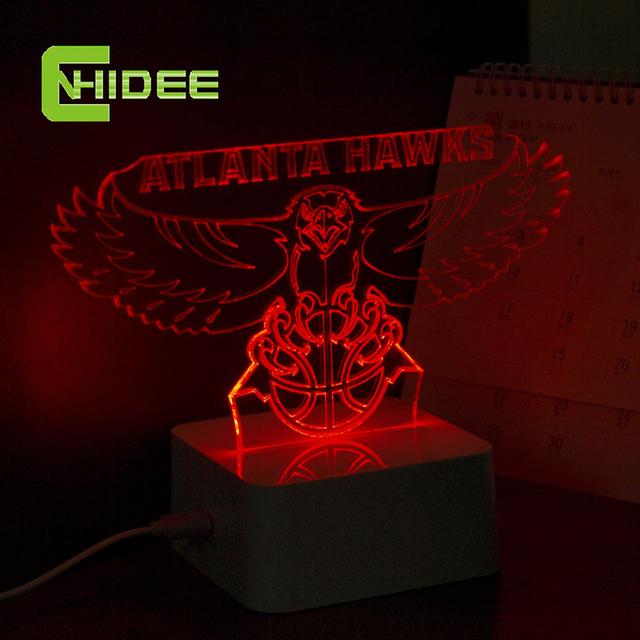 Cnhidee NBA 3D Led noite para Hawks equipe fãs Atalanta toque lâmpada de mesa , presentes de natal