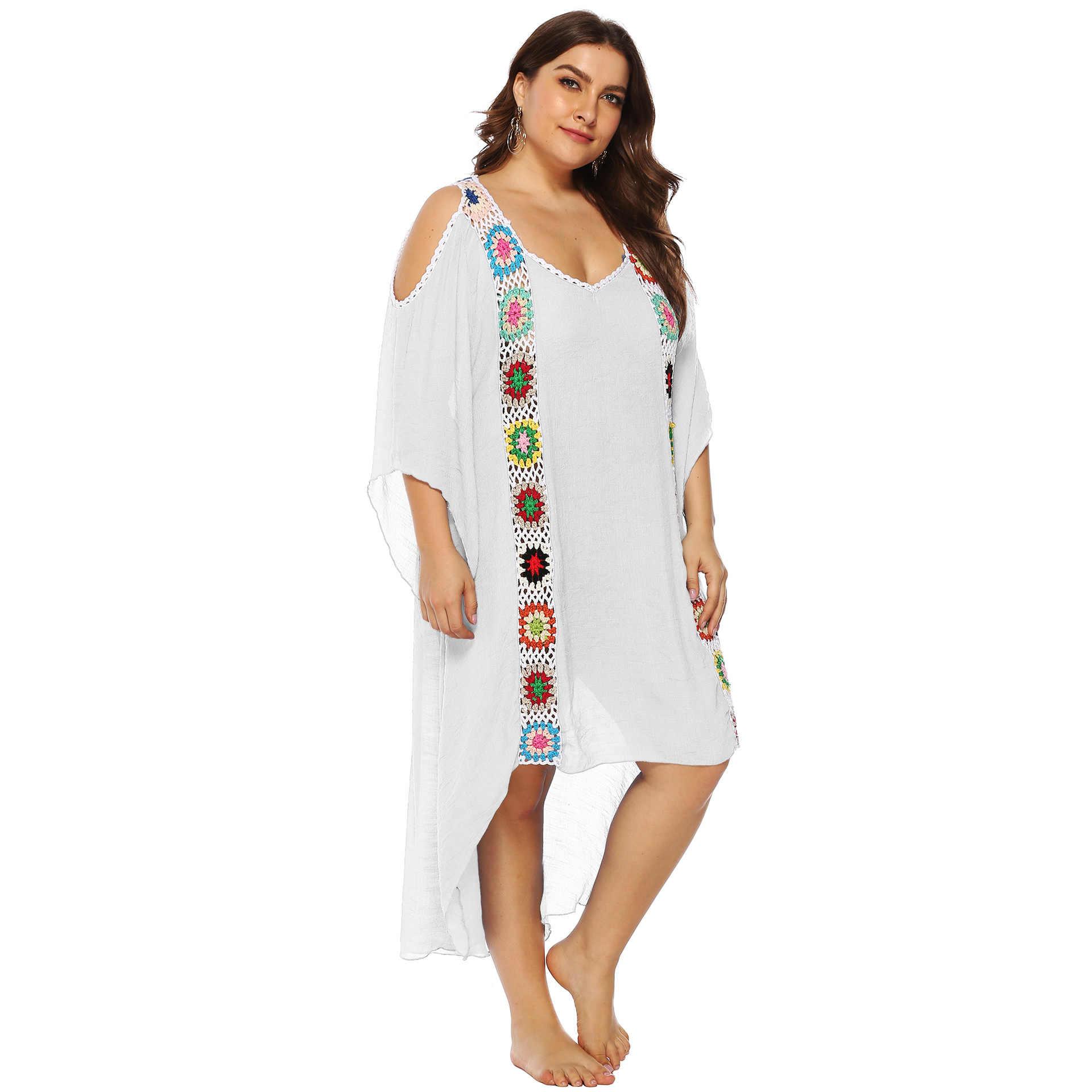 3b1ae145e8 ... Large Size Women's Hook Stitching Irregular Shore Skirt Summer Beach  Cover Up Sunscreen Tunics For Beach ...