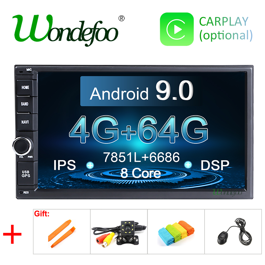 IPS Android 9 0 4G 64G 8 CORE car GPS 2 DIN universal stereo car radio