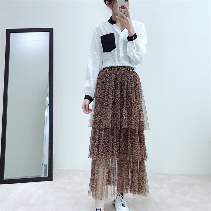 2019 Korean new Spring layer cake skirt sexy leopard bottom swing long mesh gauze skirts clothes