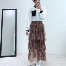 2019 Korean new Spring layer cake skirt sexy leopard bottom swing long mesh gauze skirts clothes