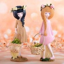 Cute resin girl doll home decor Crafts Maiden characters Figurines fairy garden kid room decoration decoracao para casa