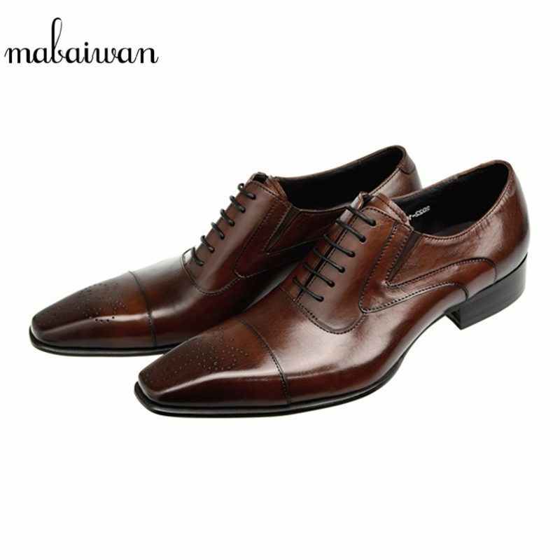 Mabaiwan Brown High Quality Genuine Leather Dress Men Shoes Lace Up Italy Retro Business Wedding Formal Flats Shoes For Men mabaiwan fashion new design leather dress men shoes lace up italy business wedding formal shoes men metal pointed toe male flats