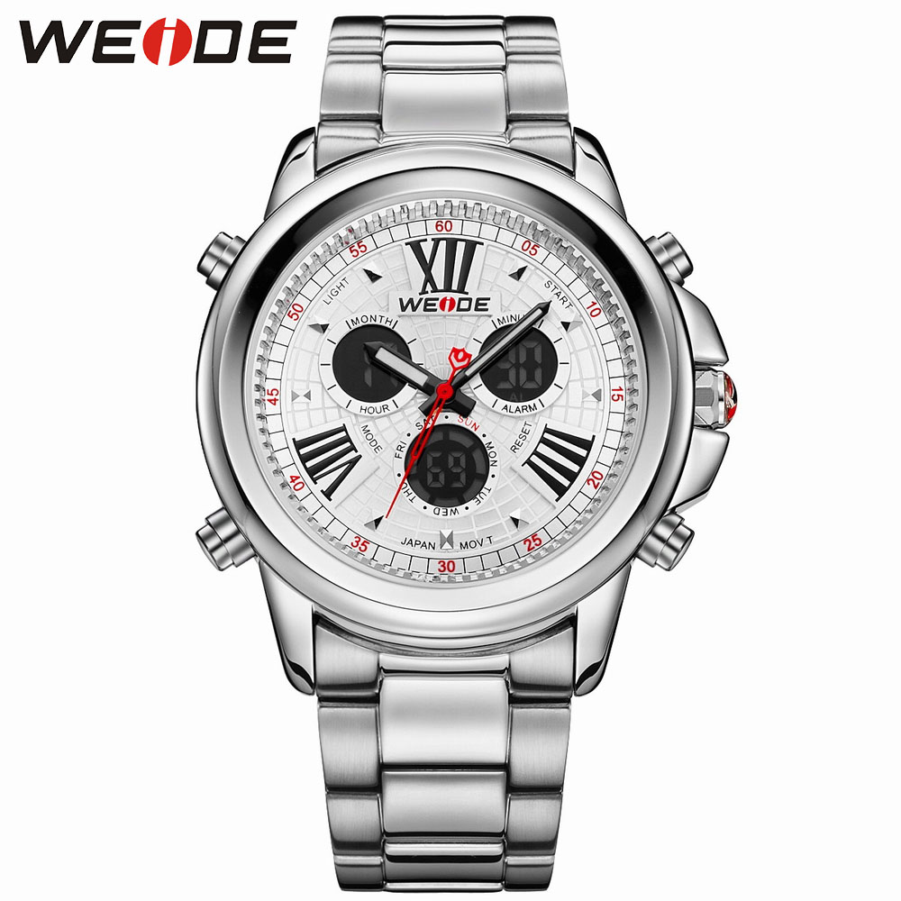 ФОТО WEIDE Brand Men's Casual Watches Relogio Masculino 3ATM Water Resistant Alarm Back Light White Dial Stainless Steel Strap Watch
