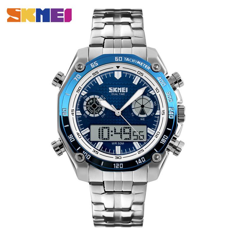 Prix pour Skmei montres de sport hommes de mode 30 m étanche led électronique montre de luxe choc en acier inoxydable double affichage montres 1204