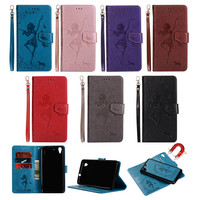 2 In 1 Removable Wallet Leather Case For Huawei Y6 II Y6II Fundas Embossed Butterfly Girl