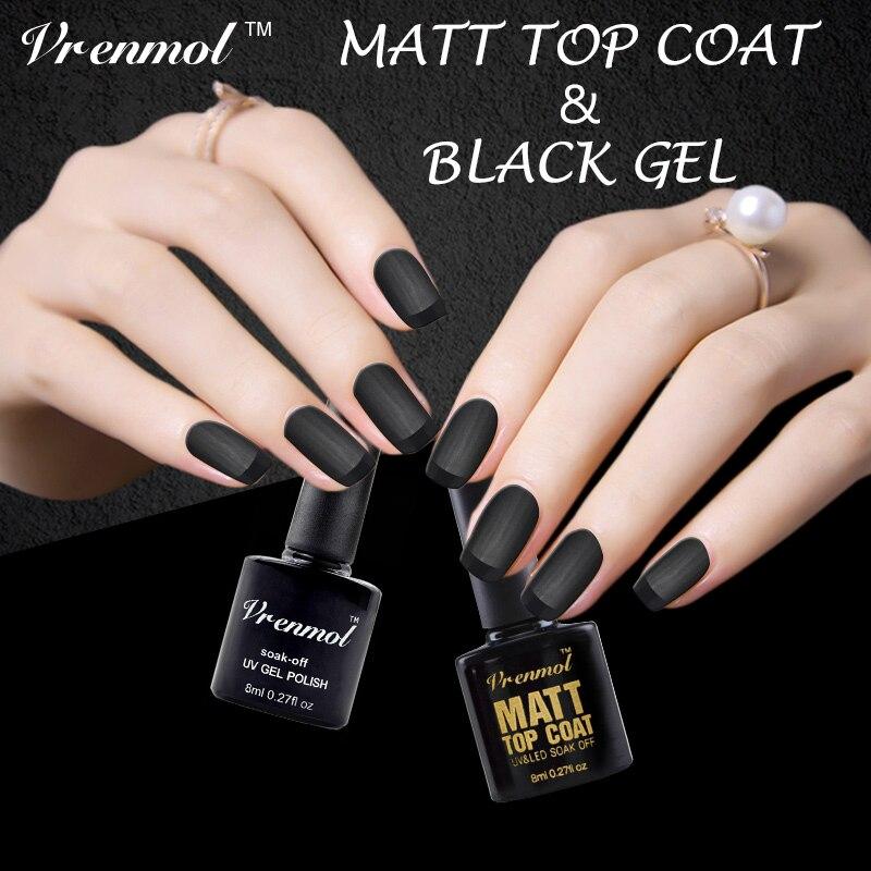Vrenmol 2pcs Matte Matt Top Coat+black Color Nail Gel Nail Art UV ...