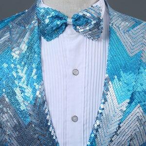 Image 3 - PYJTRL New Men Gradual Blue Green Sequins Shiny Party DJ Singer Stage Show Suit Jacket Wedding Prom Performance Blazer Design