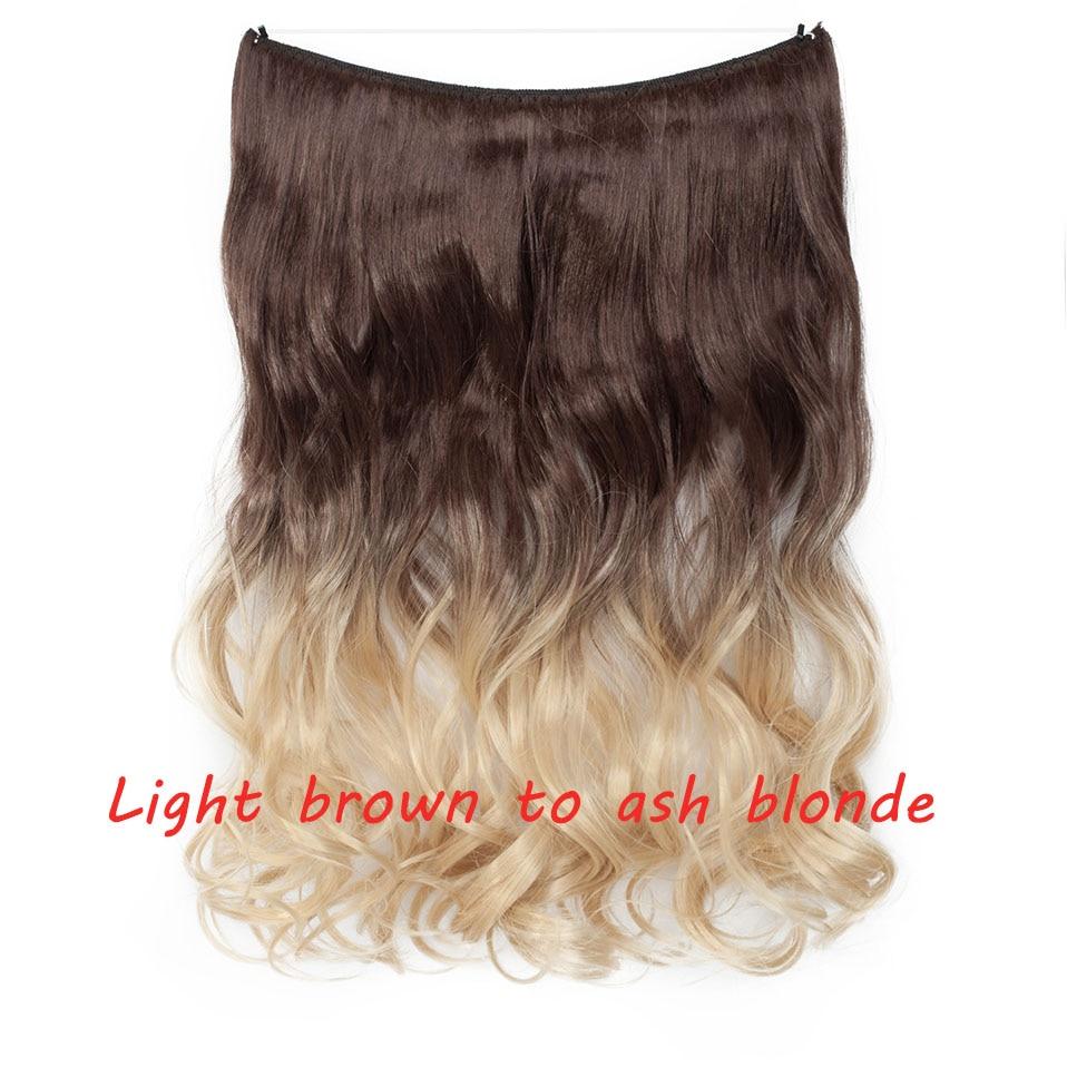 S-noilite 20 дюймов невидимый провод без заколки для волос Расширения секретная Рыбная линия шиньоны шелковистые прямые настоящие натуральные синтетические - Цвет: 6H458