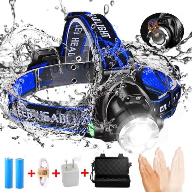 10000LM LED Scheinwerfer T6/L2/V6 Zoomable Kopf lampe Taschenlampe Scheinwerfer Lanterna Mit LED Körper Motion Sensor für Camping