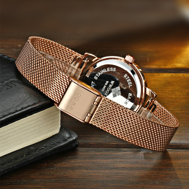 WWOOR Brand casual Ladies Women Dress Watches Thin Quartz Watch Steel Mesh Band Luxury Gold Bracelet Wristwatch Relogio Feminino