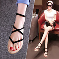 Sandalias de las mujeres zapatos con zapatos planos de la muchacha ladys Roma Sandalias zapatos del dedo del pie sujetador nuevas sandalias de verano zapatos de mujer