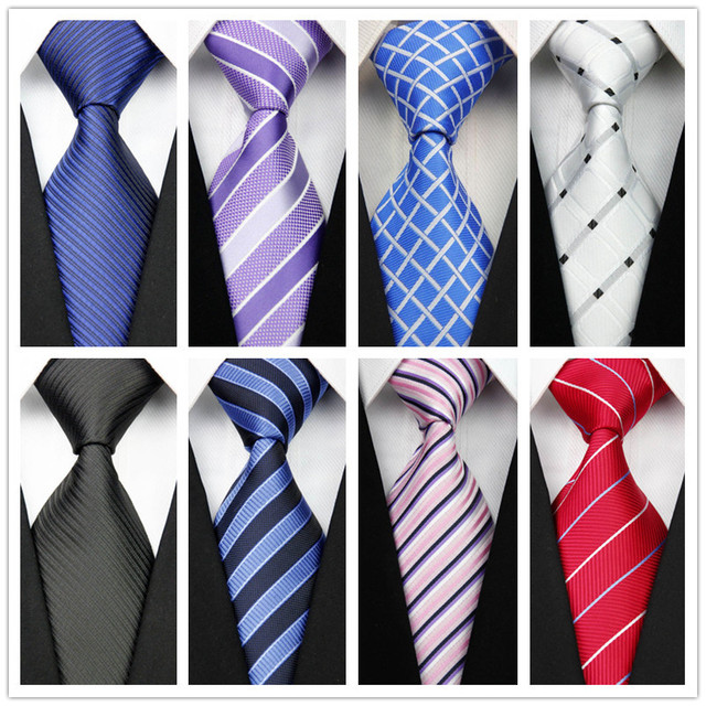 con92 Man's New Classic Striped Plaid Silk Polyester Woven Black Blue Orange Tie Business Wedding Party Casual Necktie