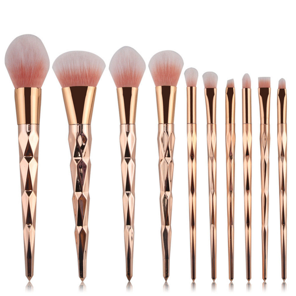 10pcs Diamond Shape Makeup Brush Set Powder Blusher Eyeshadow Eyeliner Eyebrow Lip Brush Golden Cosmetic tool