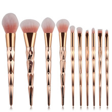 10pcs Diamond Shape Makeup Brush Set Powder Blusher Eyeshadow Eyeliner Eyebrow Lip Brush Golden Cosmetic tool Kits HZ5712