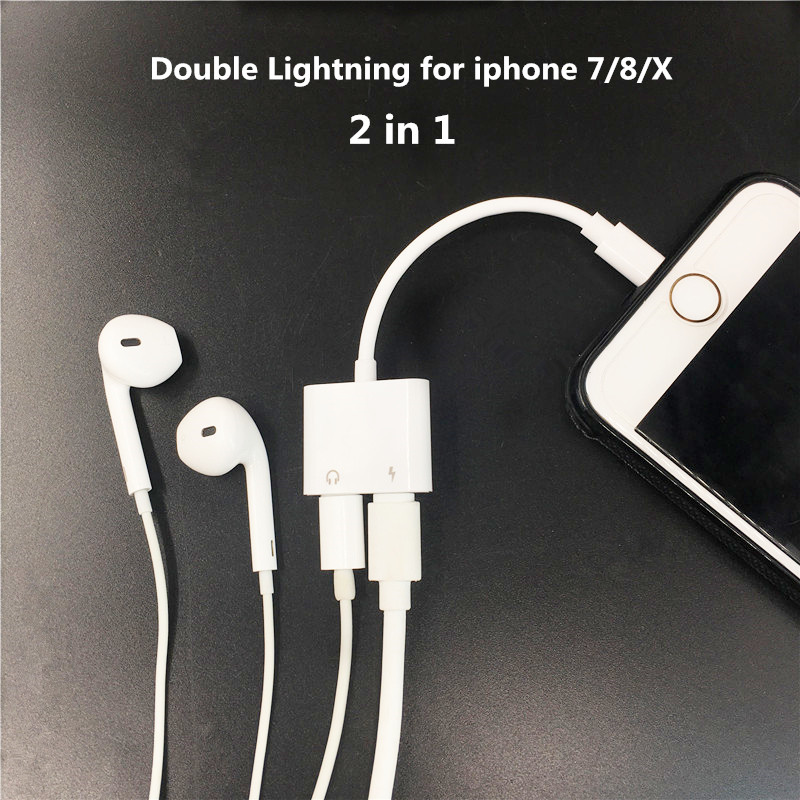 2 In 1 Double Jack Audio Adapter For IPhone 7/8/X For  IOS11 Charging Music Or Call For Charging Adapter Earphone