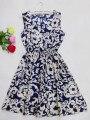 Темно-Синий Чешский цветочный рукавов жилет печатных пляж шифон Лето осень Корейских Женщин casual dress 2017
