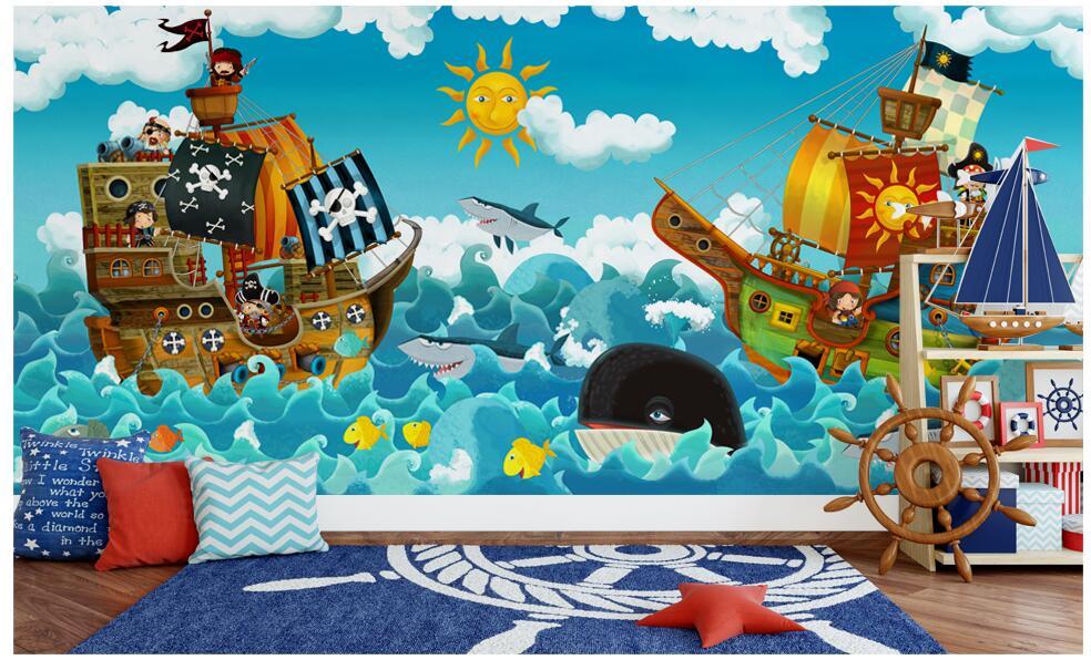 Us 15 04 46 Off Custom Mural 3d Wallpaper Cute Cartoon Pirate Ships Children S Background Wall Painting 3d Wall Murals Wallpaper For Wall 3 D In