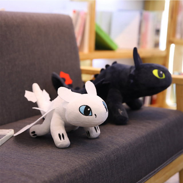 2019 Como Treinar O Seu Dragão 3 35 centímetros Desdentado Fúria da Luz de Brinquedo de Pelúcia/Fúria Da Noite Boneca de Pelúcia de Presente