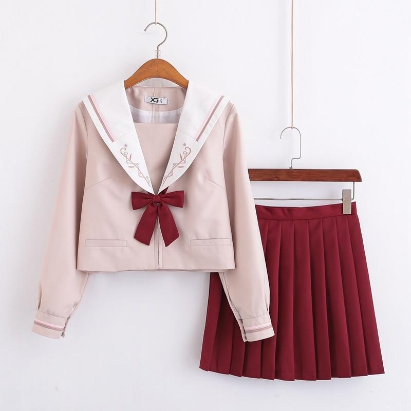 2019 New Spring Japanese School Uniforms For Girls Cute Long-length Sailor Uniform Tops Pleated Skirt Tie Full Sets Jk Costumes
