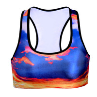 New Sexy Women Professional Quick Drying Sports Bra Sunset Clouds 3D Print Push Up Wireless Padded