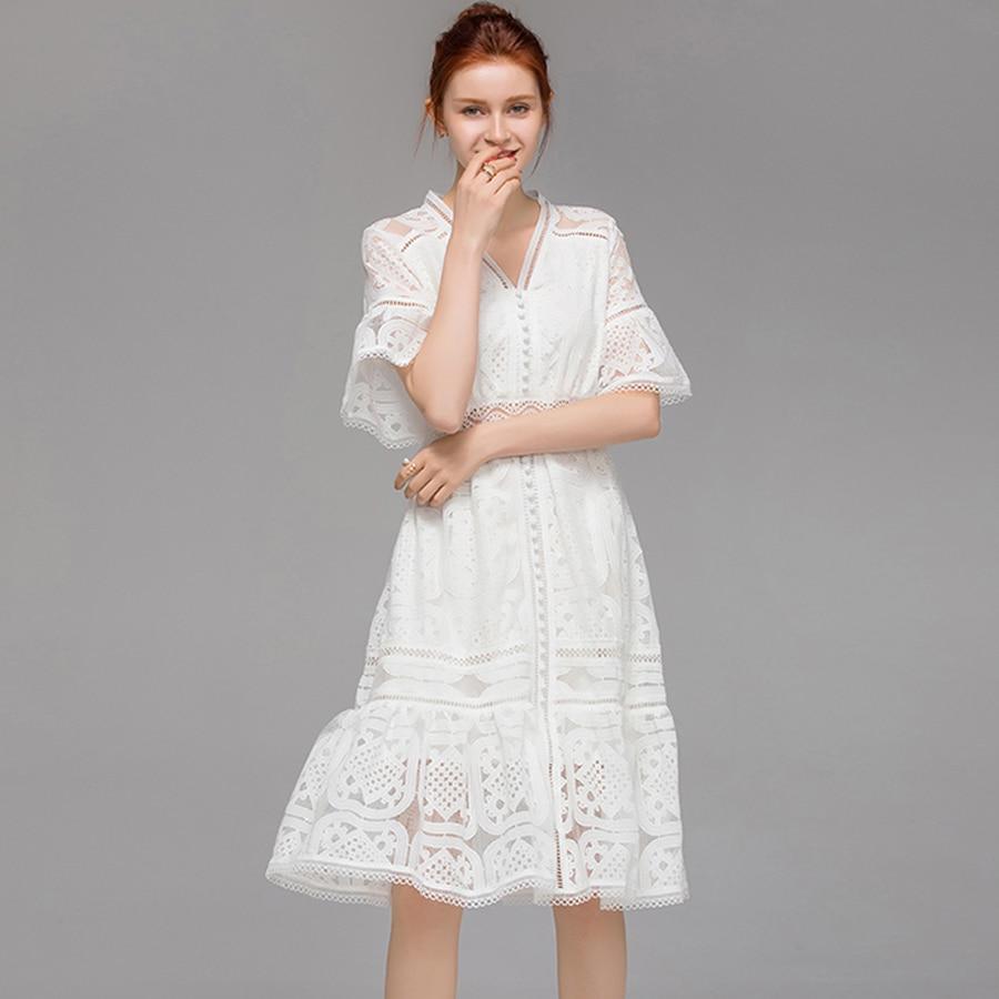 VERDEJULIAY vestido blanco de lujo 2019 verano nuevas mujeres manga acampanada ahuecado cuello en V volantes bordado delgado vestido hasta la rodilla-in Vestidos from Ropa de mujer    2
