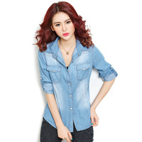Casual Blouses 2015 New Arrive Fashion Europe America Style Spring Autumn Solid Slim Cotton Women Denim
