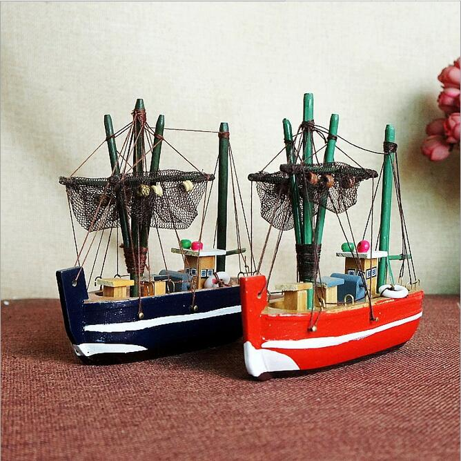 Lovely Wooden Fishing Boat Decoration
