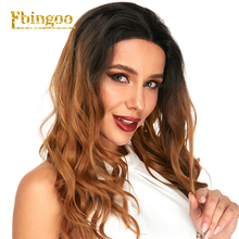 Ebingoo Long Natural Wave  Futura Ombre Brown Synthetic Lace Front Wigs For Women Peruca Middle Part Heat Resistant
