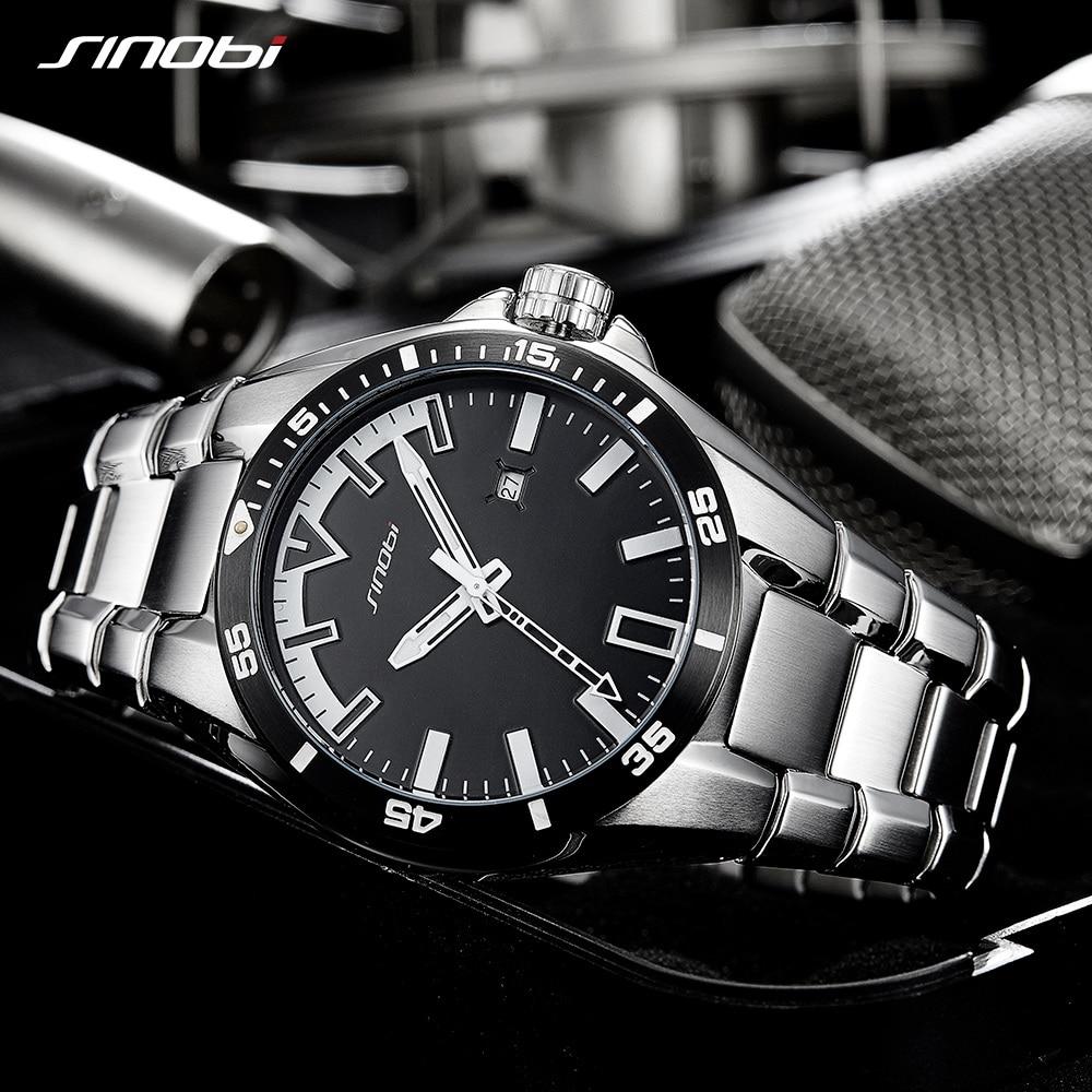 2018 SINOBI Men's Shock Business WatchFull Steel Male Fashoin Military Wrist Watches Men Luminous Hands Relogio Masculino saat