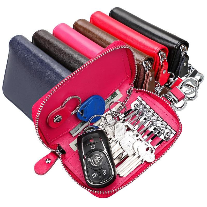 TRASSORY Unisex  Genuine Leather Key Holder Wallet Purse Shape Keychain Hot Pink Pouch Women