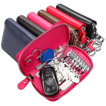 TRASSORY Unisex  Genuine Leather Key Holder Wallet Purse Shape Keychain Hot Pink Pouch Women