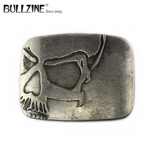 Bullzine heavy embossed skull cowboy jeans gift belt buckle antique silver finish FP-03698 with 4cm width loop drop shipping