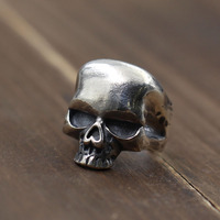 Solid Silver 925 Skull Rings Men Gothic Punk Wide Cuff Band Male Rings 100% Real 925 Sterling Silver Cool Mens Jewelry Free Box
