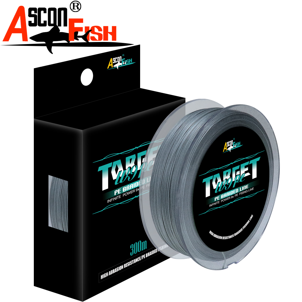 Ascon Fish 9 Strands 300m Braided Fishing Line For Cord Fishing Carp 9 Braid Thread Multifilament Line 15-310LB Rope