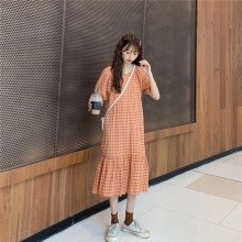 Women Maxi Dress Casual Loose Short Sleeve Dresses Plaid Long V-neck Clothing