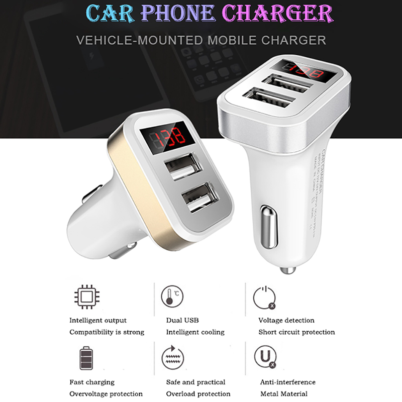 Mobile Phone Accessories Kind-Hearted Luckguard Led Display Dual Usb Car Charger 2.1a Mobile Phone Car-charger For Iphone 6 7 Samsung Xiaomi Smart Charging Adapter