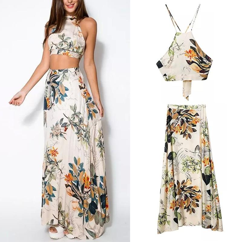 Fashion 2 Piece Summer Women Dress Set Crop Tops Bodycon+Long Maxi Skirt Party Floral Beach Dresses Vestido